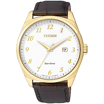 CITIZEN星辰 光動能 簡約大數字腕錶(BM7322-06A)-銀x金/40mm
