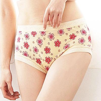 內褲 滿滿花朵100%蠶絲中高腰內褲 (黃) Chlansilk 闕蘭絹