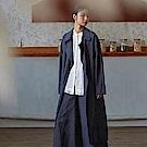 旅途原品_本藍_原創設計棉麻牛仔色織直筒風衣-藏藍