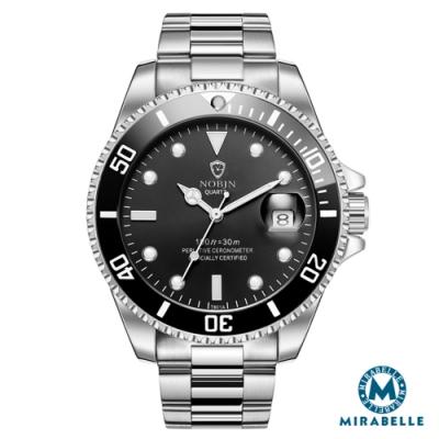 Mirabelle至尊顯時 日期放大不鏽鋼男錶 銀帶全黑面43mm