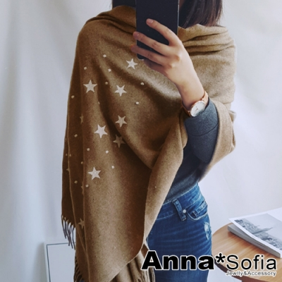 【2件69折】AnnaSofia 立體繡星點落 美麗諾羊毛絨混織披肩圍巾(駝系)
