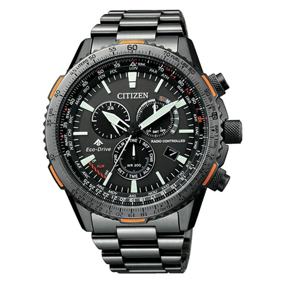 CITIZEN 星辰PROMASTER 系列電波對時腕錶-橘CB5007-51H