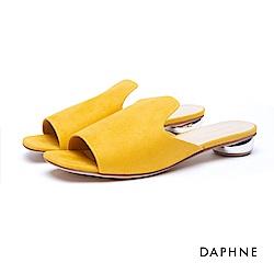 達芙妮DAPHNE 拖鞋-穆勒款絨面金屬低跟拖鞋-黃