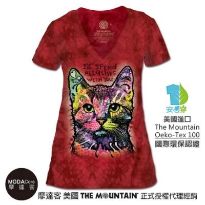 摩達客-美國The Mountain都會系列 九命小紅貓  V領女版短T(現貨)