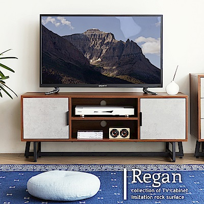 H&D 雷根工業風4尺胡桃電視櫃/DIY自行組裝