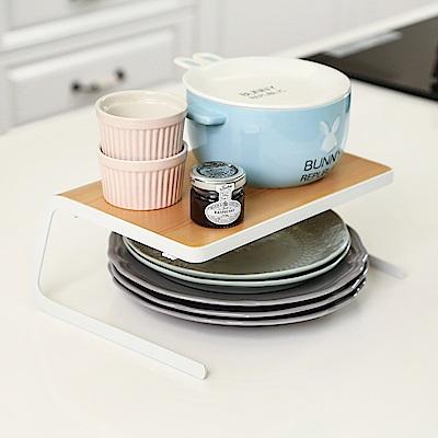 澄境 簡約餐具碗盤架高收納架(2入)