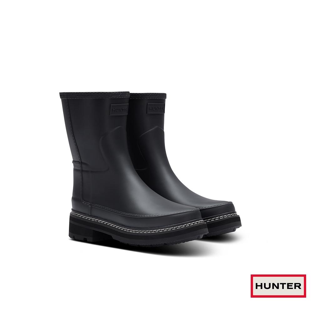 HUNTER -女鞋-Refined粗針縫霧面短靴-黑色