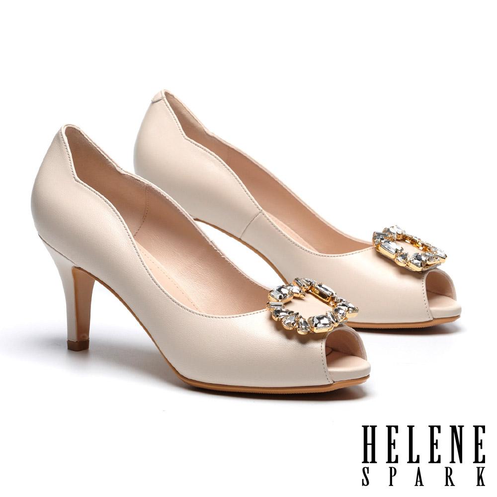 高跟鞋 HELENE SPARK 優雅迷人奢華鑽飾全真皮魚口高跟鞋-米