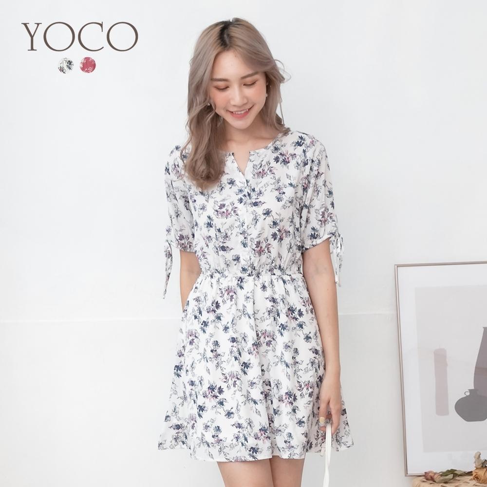 東京著衣-YOCO 甜蜜氛圍碎花袖綁帶腰鬆緊洋裝-S.M.L(共二色)