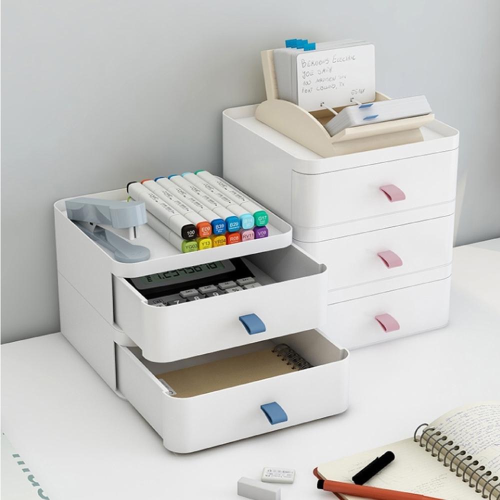 【日居良品】ABS優質雙層收納盒-可自由堆疊/桌面收納盒/小物收納盒(3色可選)