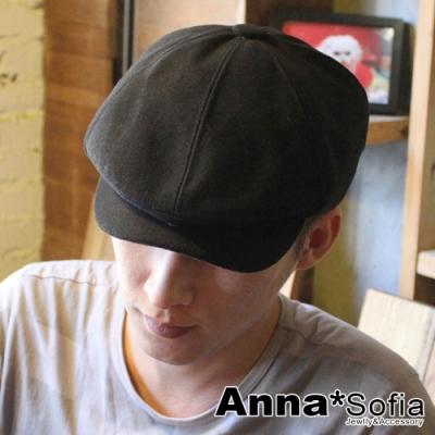 【滿688打75折】AnnaSofia 貝克漢同款英倫風 混棉鴨舌帽貝蕾帽(黑系)