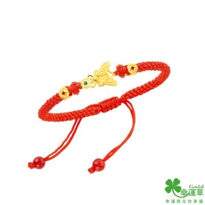 幸運草金飾 金常贏黃金/水晶中國繩手鍊