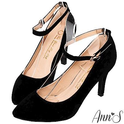 Ann'S一見鍾情-後跟珍珠繫帶尖頭迷人高跟鞋-黑