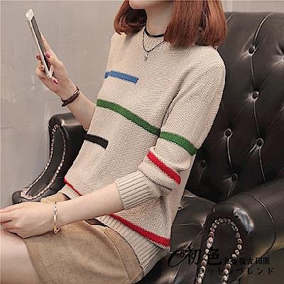 簡約橫條紋針織衫-共5色(F可選)   初色