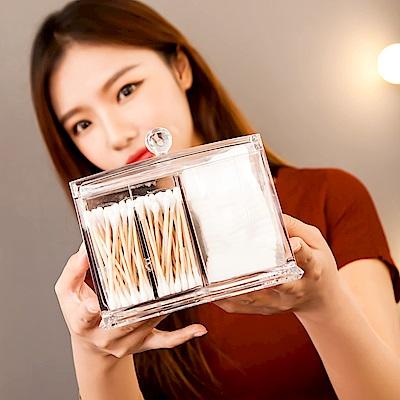 【Mr.box】透明壓克力化妝棉+棉花棒防塵收納盒