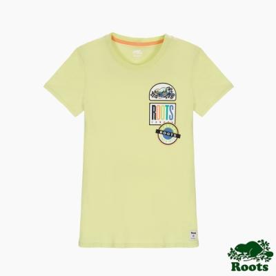 女裝Roots 霓虹貼布短袖T恤-黃色