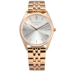 ROSEFIELD 簡約典雅 日期 不鏽鋼手錶 銀白x鍍玫瑰金 ACSR-A14  33mm