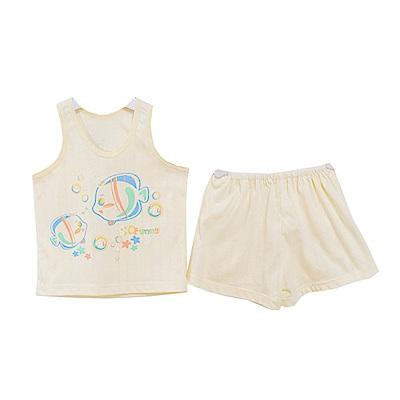 魔法Baby 小魚印花背心套裝 黃 k50461
