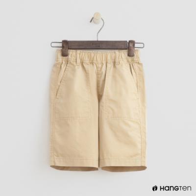 Hang Ten -童裝 - 帥氣純色鬆緊棉短褲 - 卡其