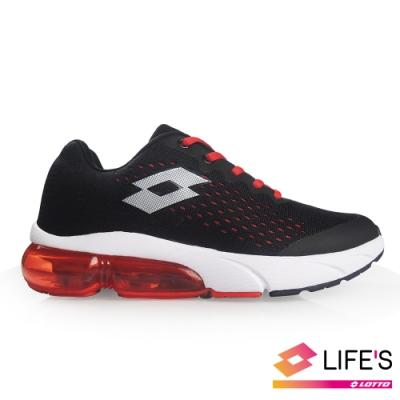 LOTTO 義大利 童 METEOR 流星 編織氣墊跑鞋 (黑/紅)