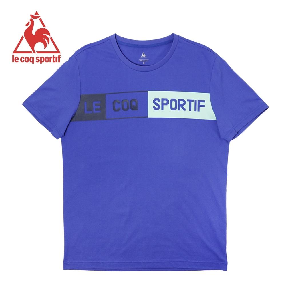 le coq sportif 法國公雞牌舒適純棉文字LOGO短袖T恤 男-寶藍