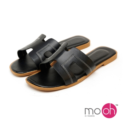 mo.oh字母平底素色一字拖鞋-黑色