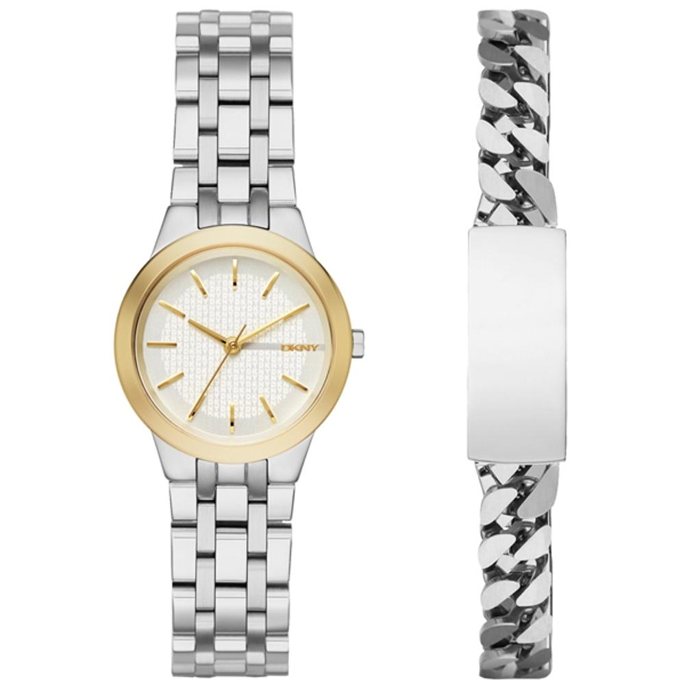 DKNY 時尚密碼都會套錶組-淡金框x銀(NY2469)/28mm