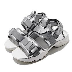 Nike 涼拖鞋 Canyon Sandal 穿搭 女 魔鬼氈 簡約 夏日 輕便 銀 白 CW6211001
