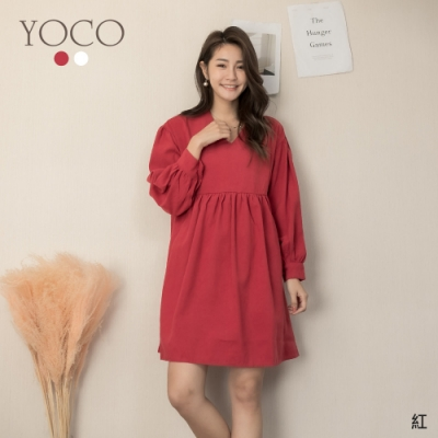 東京著衣-YOCO 好感甜心微絨感V領娃娃裝洋裝(共二色)