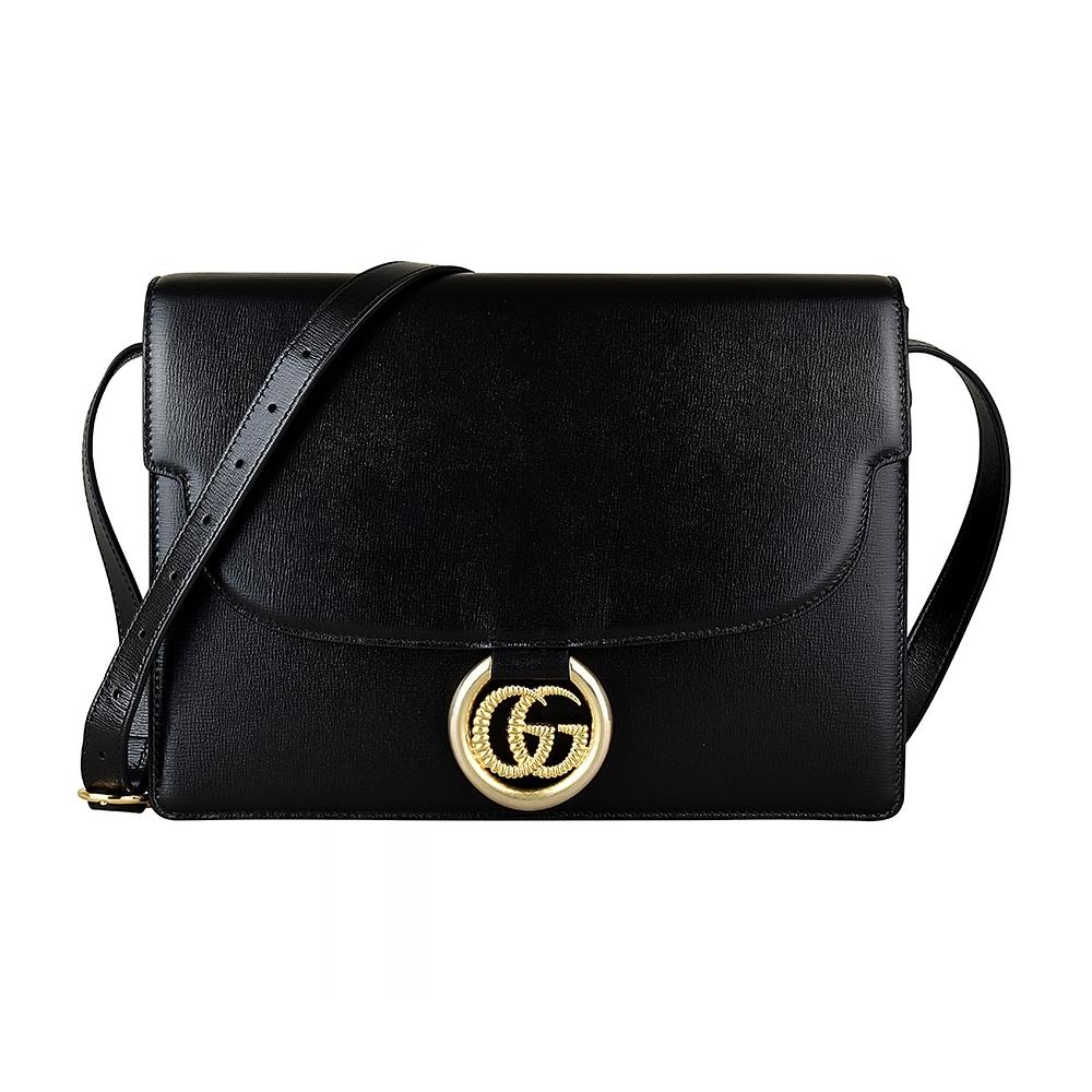 GUCCI Marina雙G LOGO圓環設計牛皮鏈帶扣式肩背斜背包(中/黑)