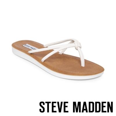 STEVE MADDEN-ALLOW 簡約亮彩扭結T字平底拖鞋-白色
