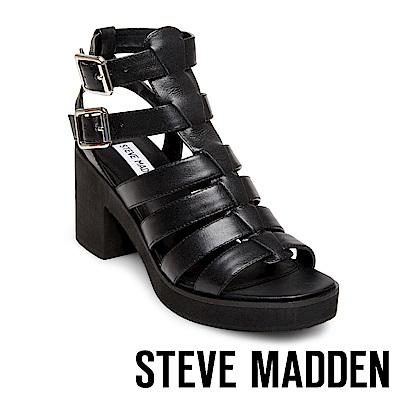 STEVE MADDEN-CLUE繫帶鞋面厚底跟鞋-黑色