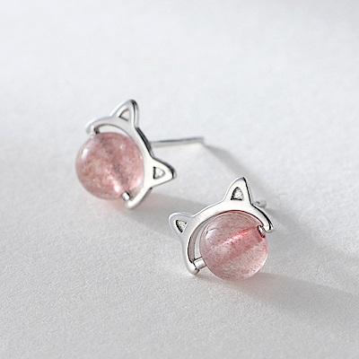 梨花HaNA 韓國925銀針吸引人的粉晶貓臉耳環
