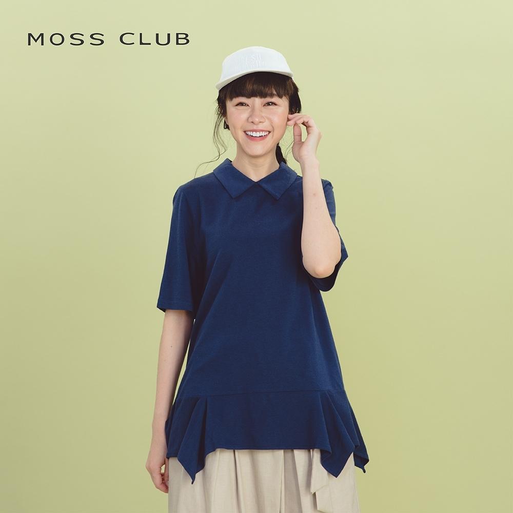 【MOSS CLUB】MIT製 襯衫領抓皺下襬-上衣(藍色)