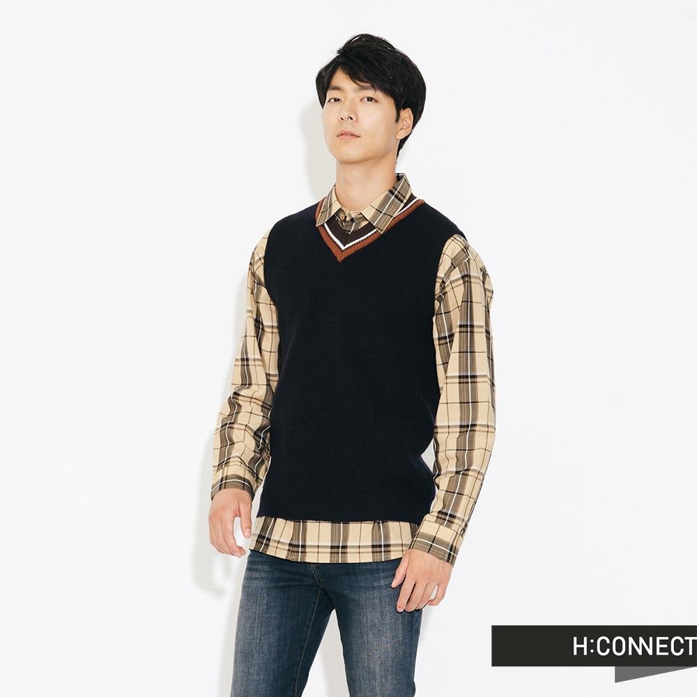 H:CONNECT 韓國品牌 男裝-V領撞色針織背心-藍(快)