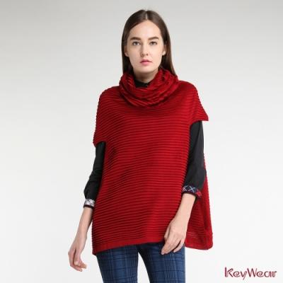KeyWear奇威名品    特殊工藝A-line長版針織毛衣-紅色
