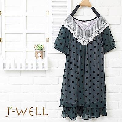 J-WELL 蕾絲領點點雪紡洋裝(2色)