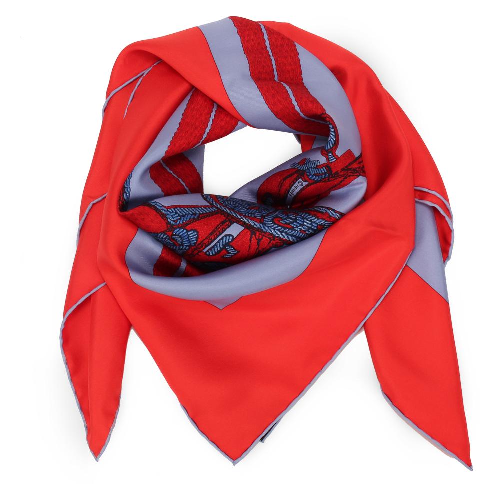 HERMES BRIDES DE GALA 馬鞍帶真絲披肩方型絲巾-紅/灰藍色