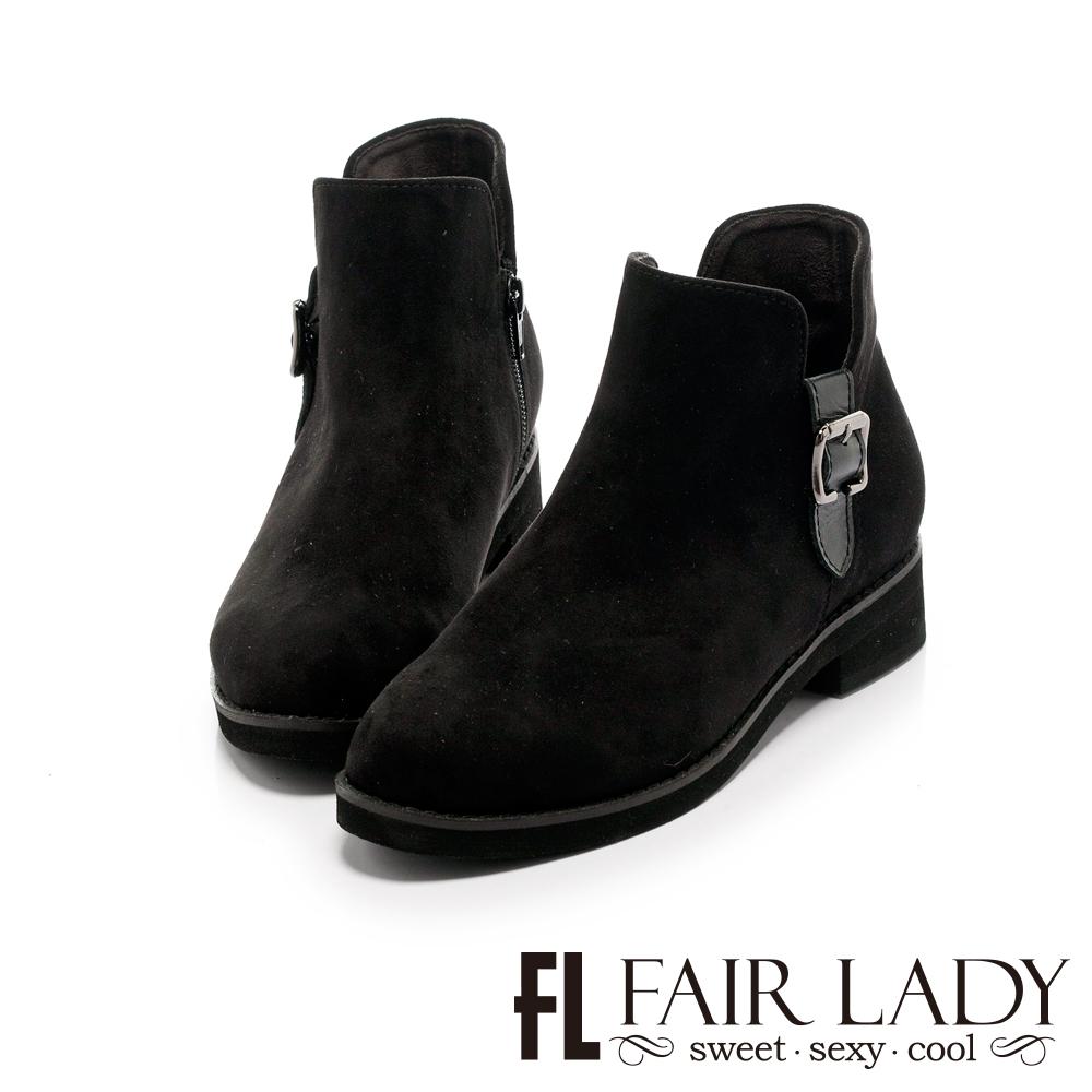 FAIR LADY 側面扣飾短靴 黑