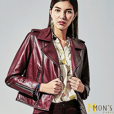 MONS 法式經典酒紅羊皮衣外套(100%羊皮)