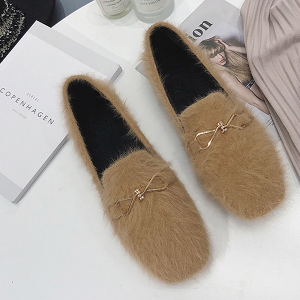KEITH-WILL時尚鞋館 韓式名媛金屬飾品平底鞋 駝