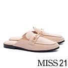 穆勒鞋 MISS 21 經典質感造型飾釦羊皮穆勒低跟拖鞋-米
