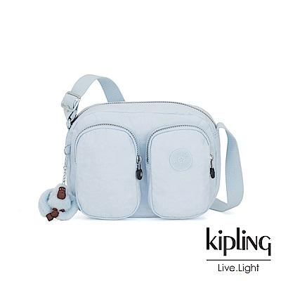 Kipling 棉花糖藍雙拉鍊前口袋側背包-PATTI