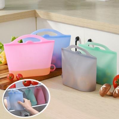 EZlife手提矽膠保鮮袋3入組(顏色隨機)贈菠蘿格超纖抹布10入組