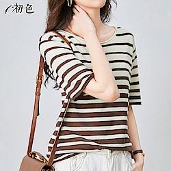 初色  簡約條紋舒適上衣-共7色-(M-2XL可選)