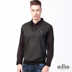 oillio歐洲貴族 長袖POLO衫 絲綢般天絲棉 防皺舒適 紳士休閒 灰色