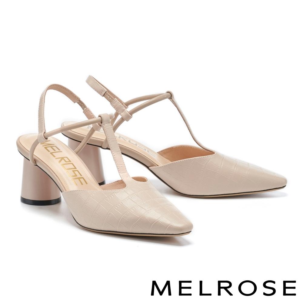 高跟鞋 MELROSE 簡約時髦壓紋T字繫帶尖頭高跟鞋-粉
