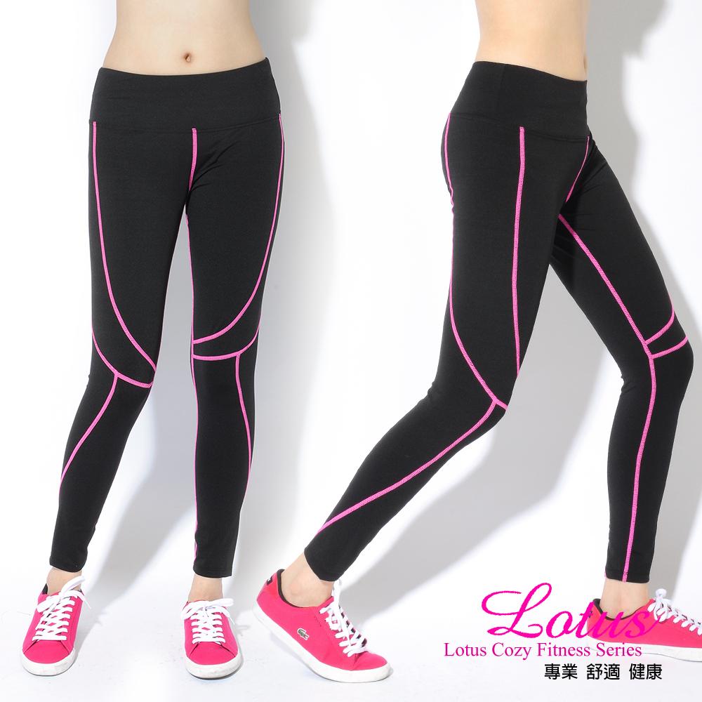 運動褲 顯瘦曲線舒適透氣運動長褲-亮桃紅(M-XL) LOTUS