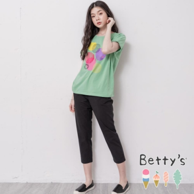 betty's貝蒂思 半鬆緊圓口袋長褲(黑色)