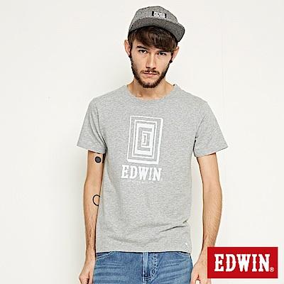 EDWIN 方框LOGO短袖T恤-男-灰色